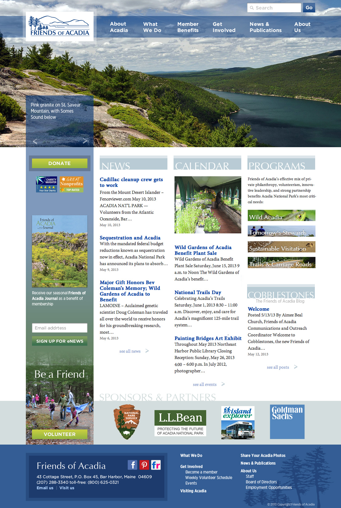 Friends of Acadia homepage