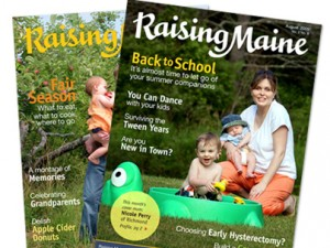 Raising Maine logo, magazine covers